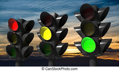 Traffic lights, with sunset sky background