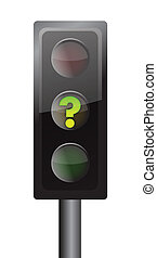 Traffic lights with yellow question