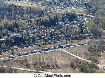 Traffic line - A line of road traffic, view from above