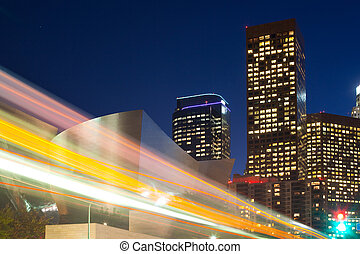 Traffic motion blur at downtown Los Angeles, California