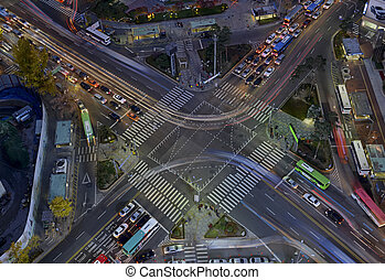 Traffic motion concept in city of Seoul Korea