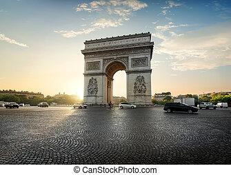Traffic near Arc de Triomphe