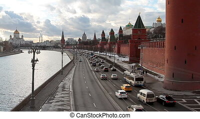Traffic near Kremlin in Moscow