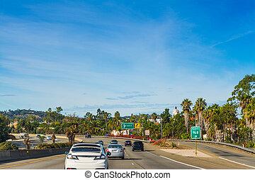 Traffic northbound on 101 freeway. Los Angeles, California