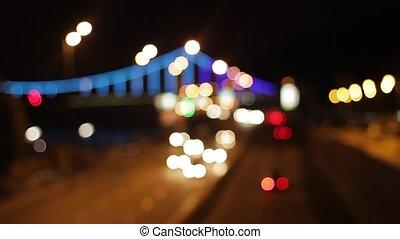 Traffic of a night city.