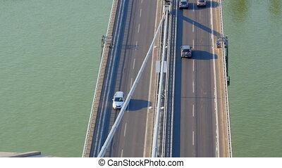 """traffic of bratislava bridge high angle view, slovakia, 4k"""