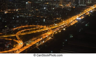 traffic of cars in a big night city. urban style