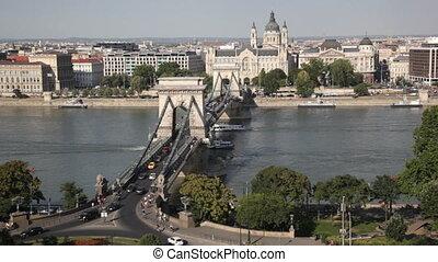 Traffic of cars on Secheni Bridge through Danube in Budapest