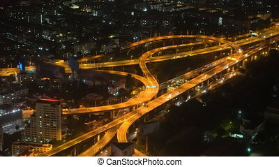 traffic of cars on the highway in a big city, traffic of a...