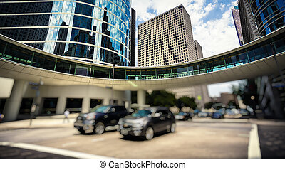 Traffic & Office Buildings in Downtown Houston, Texas -...