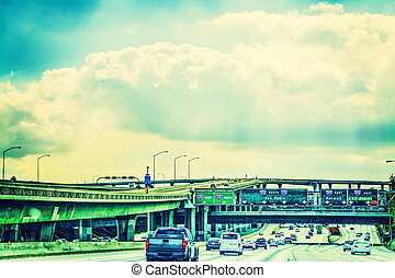 Traffic on 110 freeway southbound