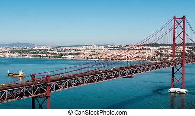 Traffic on 25 de Abril Bridge in Lisbon Portugal
