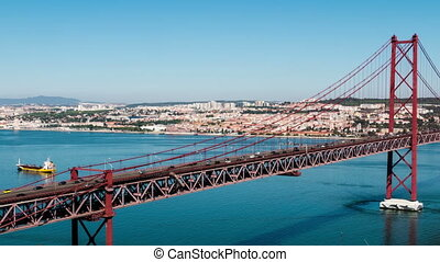 Traffic on 25 de Abril Bridge in Lisbon Portugal - Traffic...