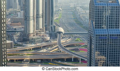 Traffic on a busy intersection on Sheikh Zayed highway...