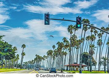 Traffic on Cabrillo boulevard in Santa Barbara, California
