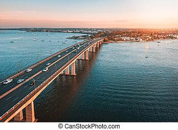 Traffic on Captain Cook Bridge Sans Souci aerial view