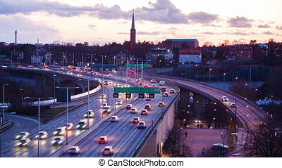 Traffic on Freeway in Sweden at night