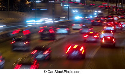 Traffic on Freeway in Sweden, Stockholm at night