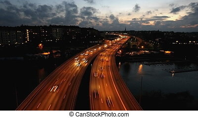 Traffic on Freeway in Stockholm, Sweden