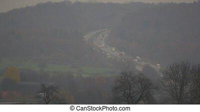 Traffic on german Autobahn, Cars and Trucks. flat CineD...