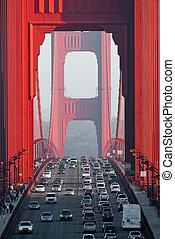 traffic on golden gate bridge, san francisco, california, usa