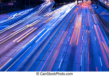 Traffic on Harbor Freeway, downtown, Los Angeles, California, United States