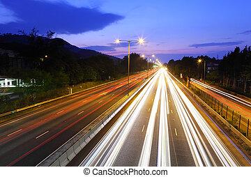 traffic on highway at night