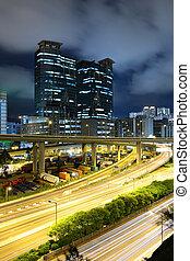 traffic on highway in urban at night