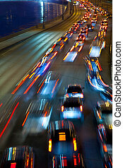 traffic on night road