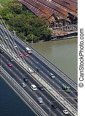 Aerial view traffic on Rama bridge over Chao Phraya river, Bangkok, Thailand