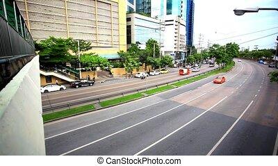 Traffic on road in Bangkok, Thailand. HD. 1920x1080