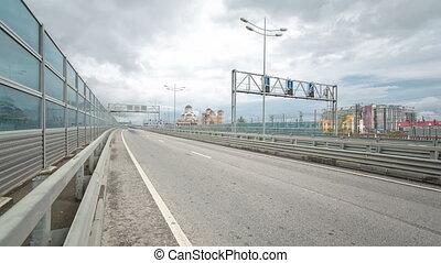 Traffic on Road M-27 timelapse Sochi Adler, Russia