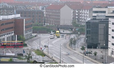 Traffic on Sundkrogsgade street in Copenhagen, time lapse