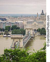 Traffic On Szechenyi Chain Bridge In Budapest