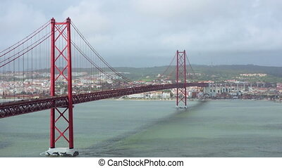 Traffic on the 25 de Abril Bridge in Lisbon