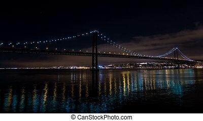 Traffic on the 25 de Abril Bridge in Lisbon, Portugal....