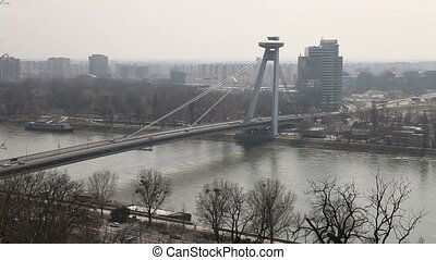 Traffic on the bridge across river