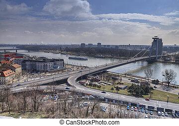 Traffic on the bridge across the Danube in Bratislava
