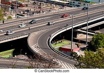 Traffic on the bridge, Bratislava, Slovakia