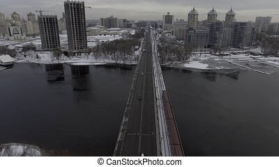 traffic on the bridge, near the metro rides, shooting from the air