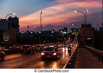 Traffic on the bridge.