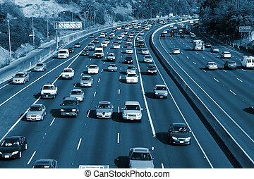 Traffic on the Hollywood 101 freeway. Los Angeles, California, USA.