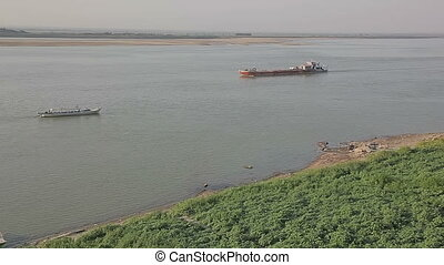 Traffic on the Irrawaddy River