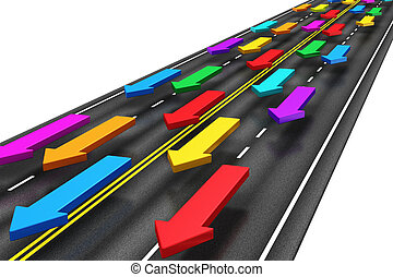 Creative abstract traffic, transportation, shipping and logistics, travel and communication business internet concept: group of color arrows moving by the highway road isolated on white background