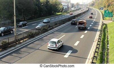 road in belgrade - traffic on the road in belgrade