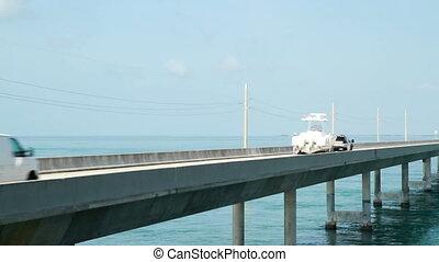 Traffic on the Seven Mile Bridge leaving Marathon Key...