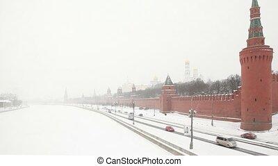 Traffic on the street near Moscow Kremlin