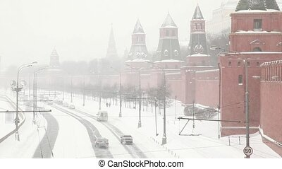 Traffic on the street near Moscow Kremlin