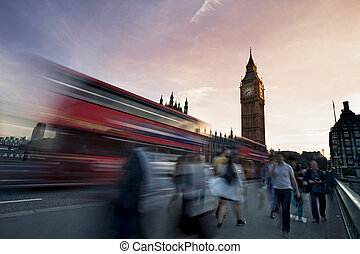 Traffic on Westminster Bridge with Big Ben in background -...