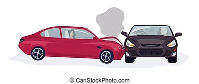 Traffic or motor vehicle accident or car crash isolated on white background. Side collision with two automobiles driven by women involved. Colorful vector illustration in flat cartoon style.